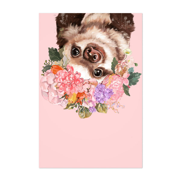 Sloth Flower Peekaboo Animal Art Print