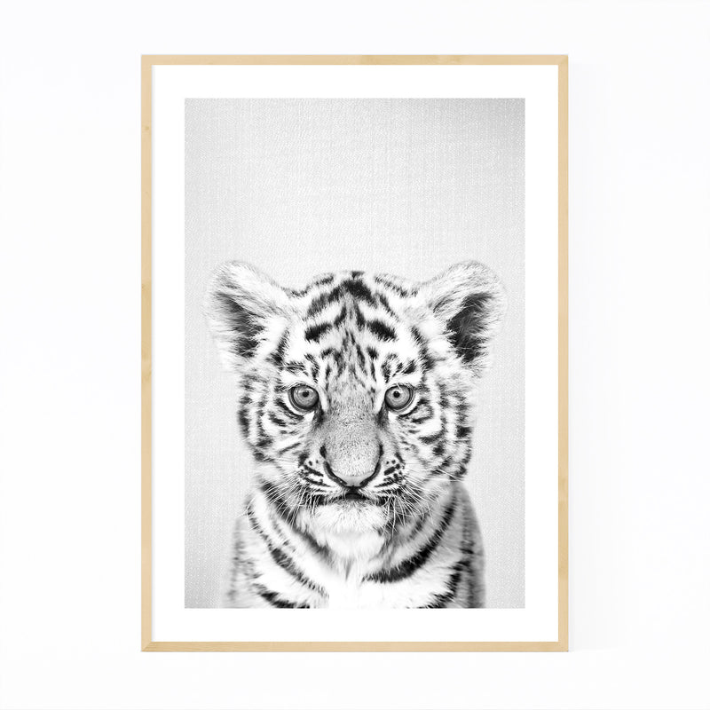 Cute Baby Tiger Peekaboo Animal Framed Art Print
