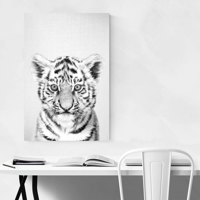 Cute Baby Tiger Peekaboo Animal Metal Art Print