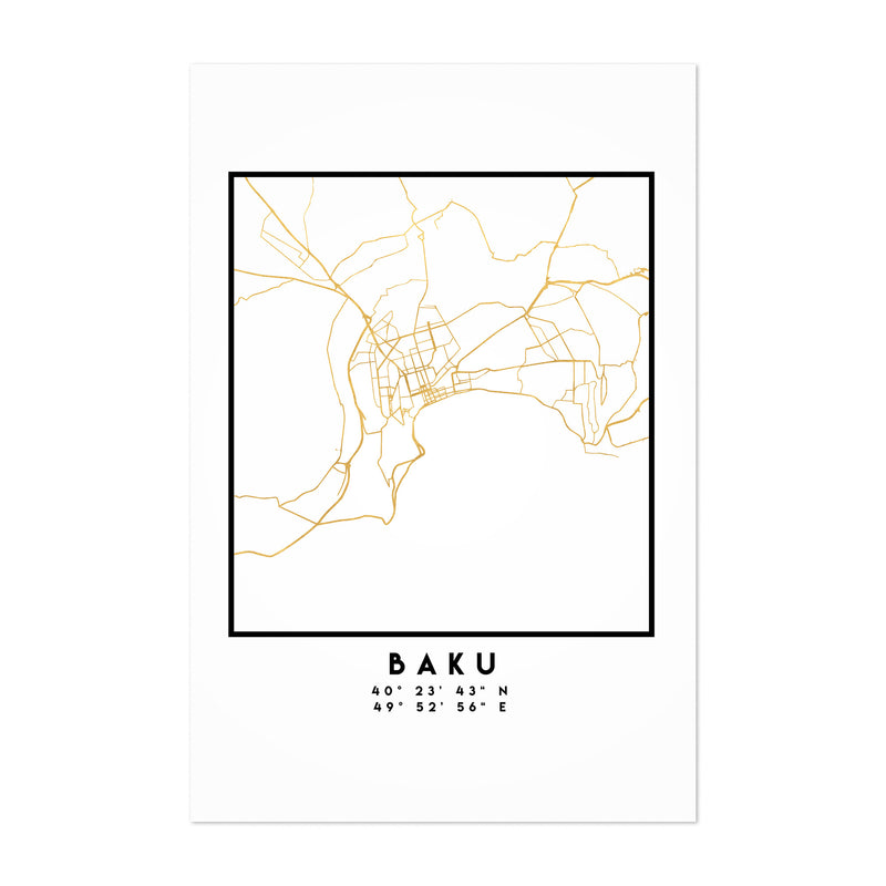 Minimal Baku City Map Art Print
