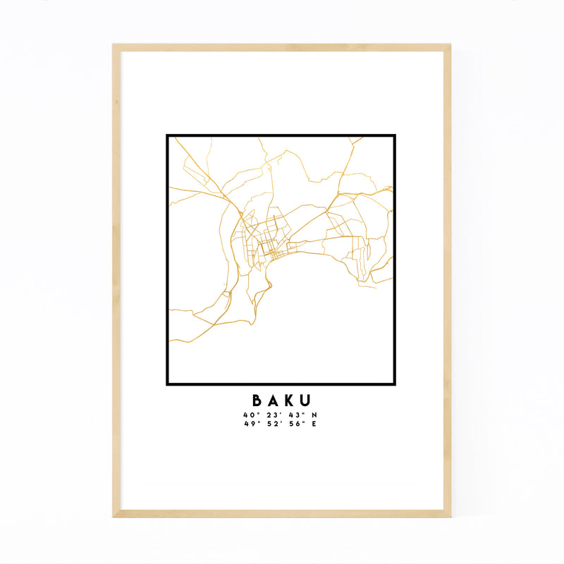 Minimal Baku City Map Framed Art Print