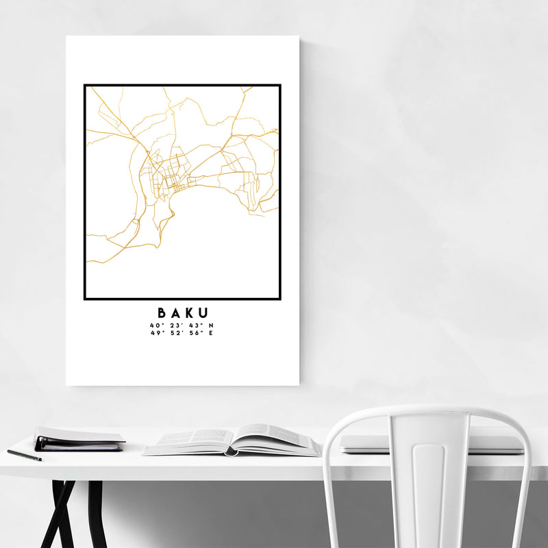 Minimal Baku City Map Canvas Art Print