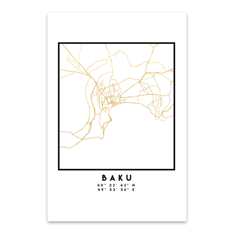 Minimal Baku City Map Metal Art Print