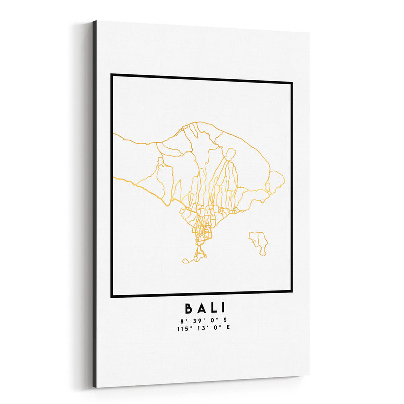 Minimal Bali City Map Canvas Art Print