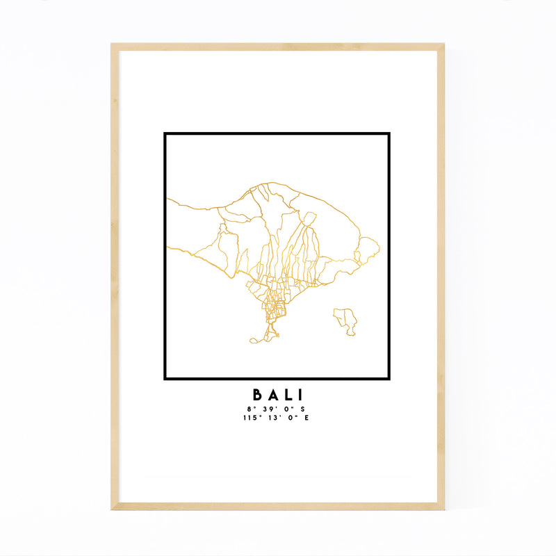 Minimal Bali City Map Framed Art Print