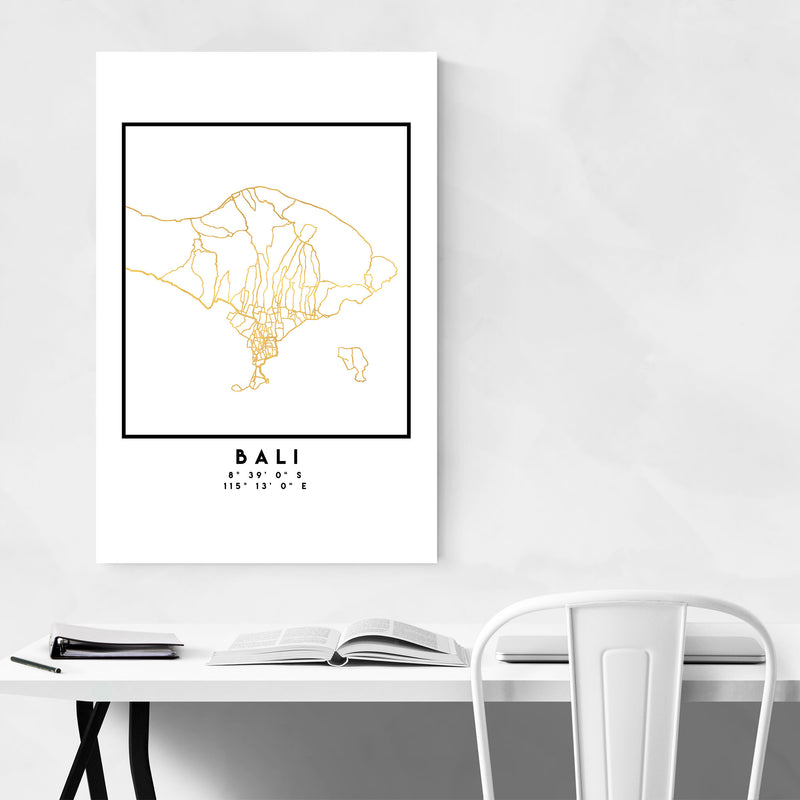 Minimal Bali City Map Metal Art Print