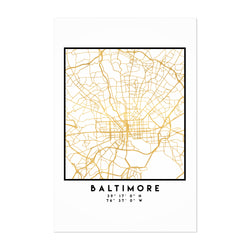 Minimal Baltimore City Map Art Print