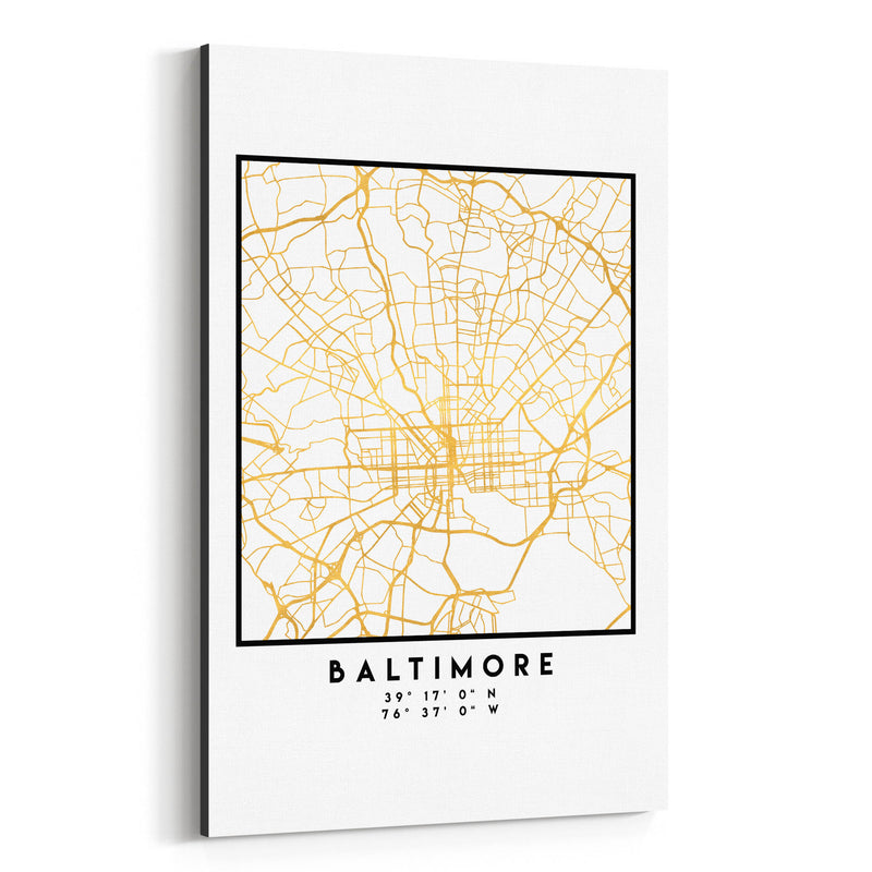 Minimal Baltimore City Map Canvas Art Print