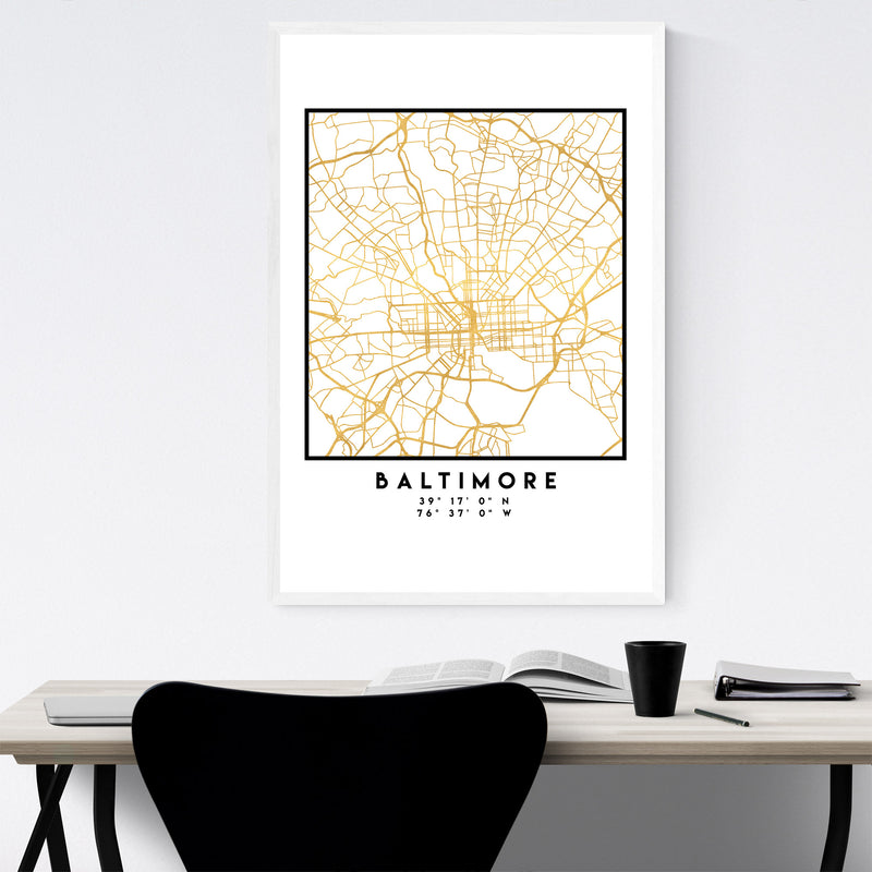 Minimal Baltimore City Map Framed Art Print