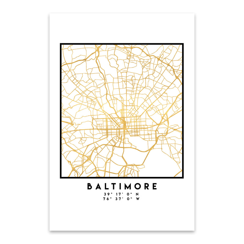 Minimal Baltimore City Map Metal Art Print