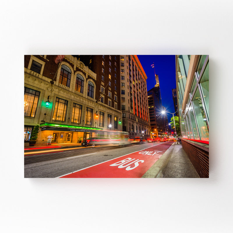 Baltimore Night Cityscape Urban Canvas Art Print