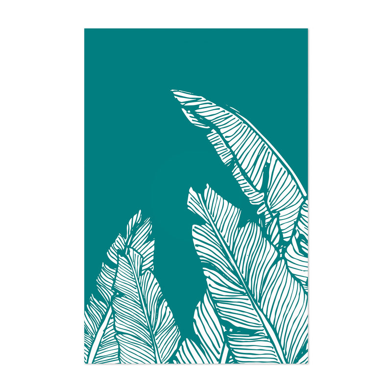 Teal Banana Leaf Illustration Art Print