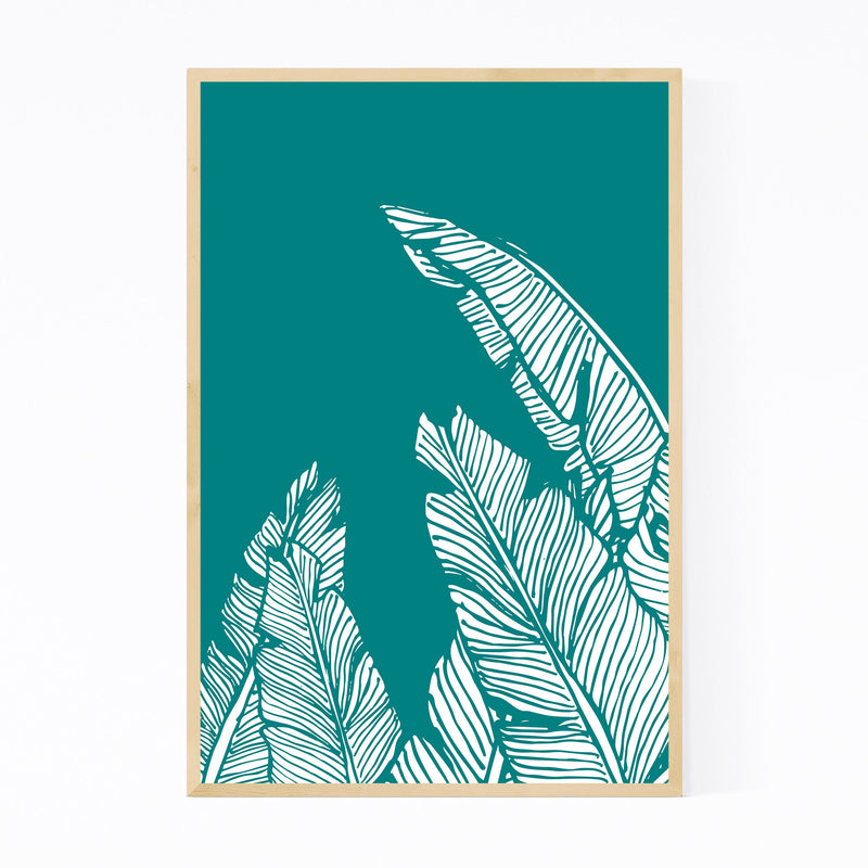 Teal Banana Leaf Illustration Framed Art Print