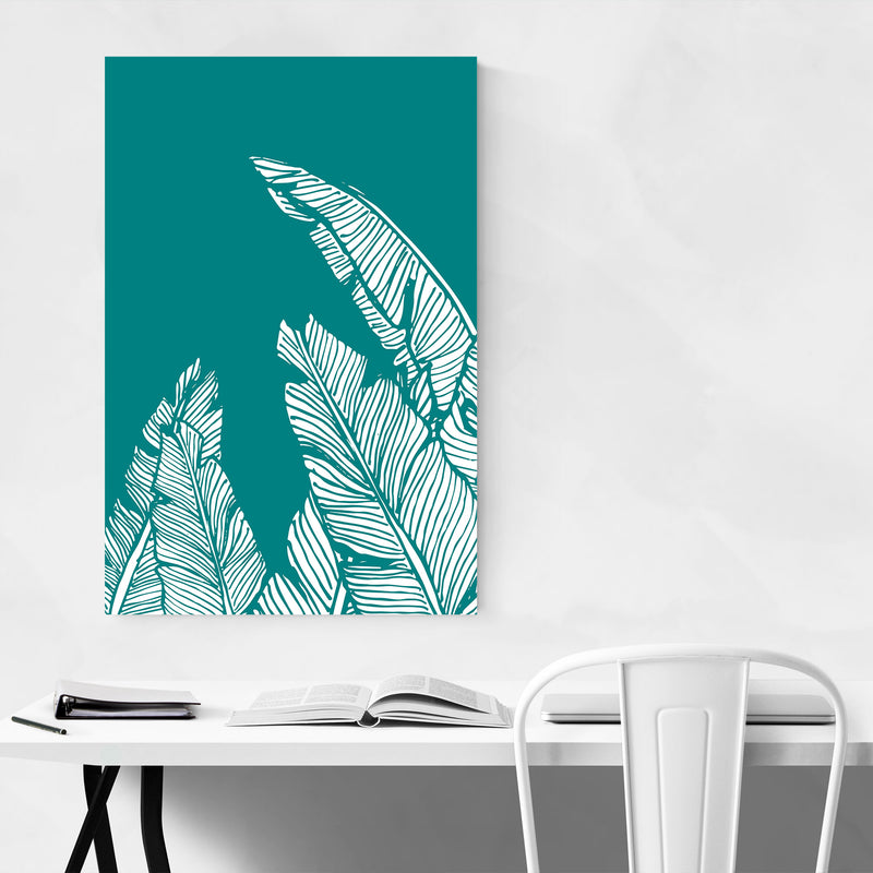 Teal Banana Leaf Illustration Canvas Art Print