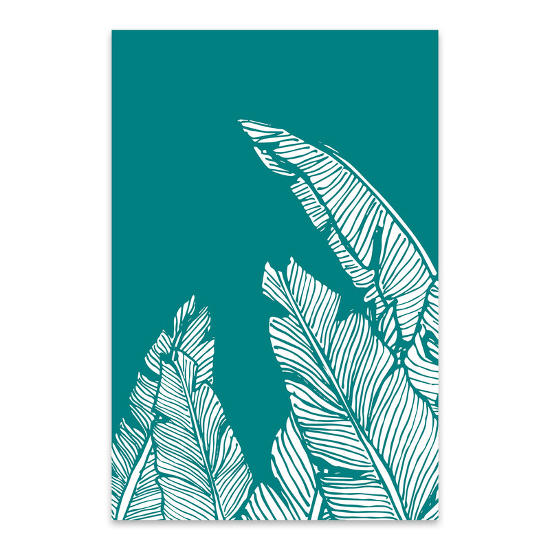 Teal Banana Leaf Illustration Metal Art Print