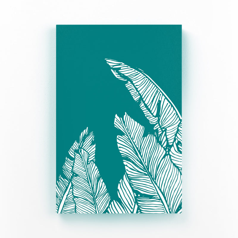 Teal Banana Leaf Illustration Mounted Art Print