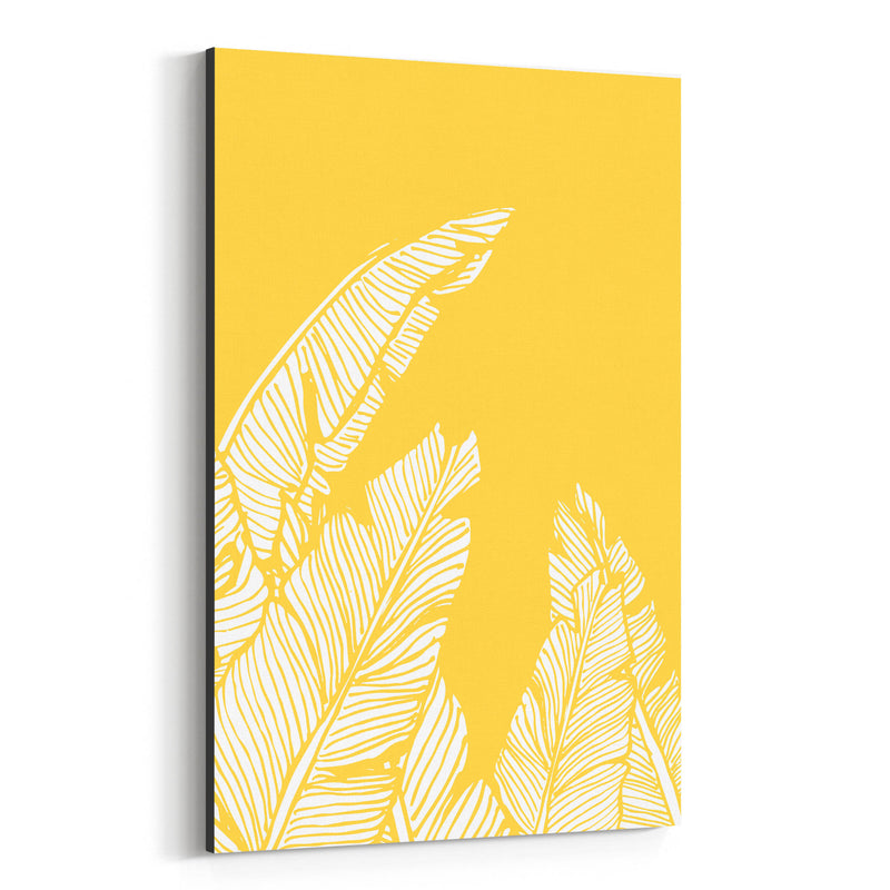 Yellow Banana Leaf Illustration Canvas Art Print