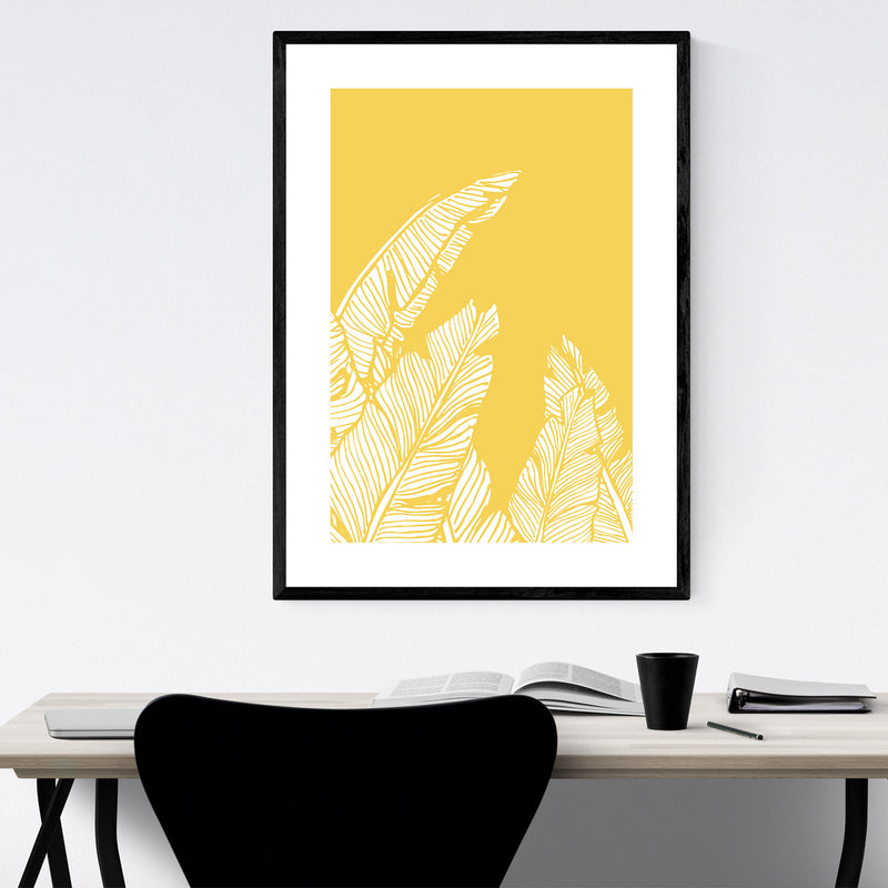 Yellow Banana Leaf Illustration Framed Art Print