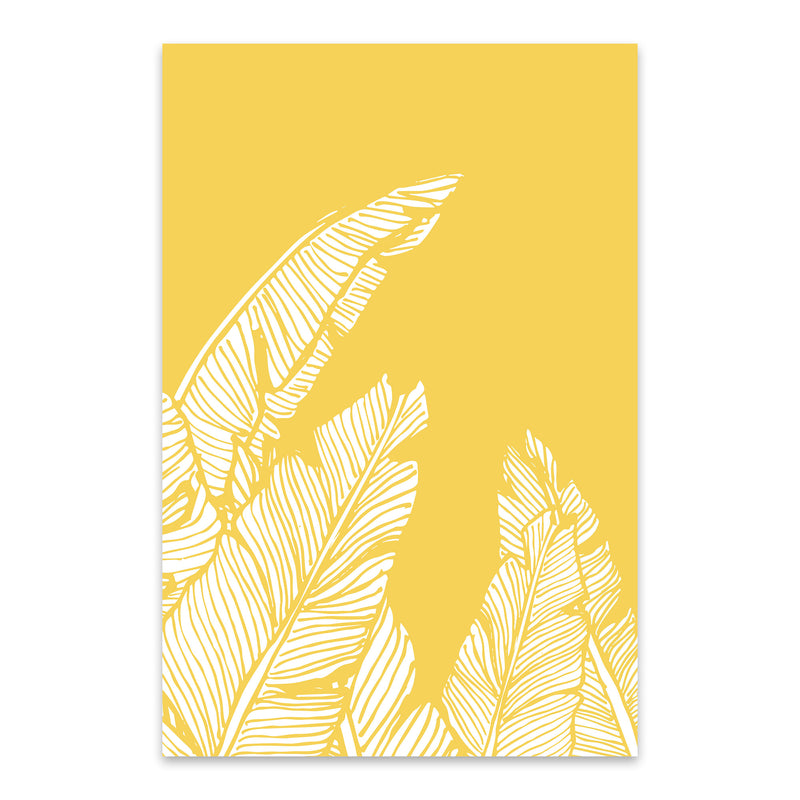 Yellow Banana Leaf Illustration Metal Art Print