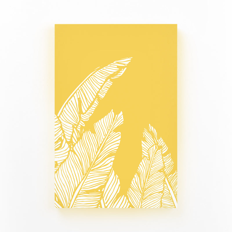 Yellow Banana Leaf Illustration Mounted Art Print