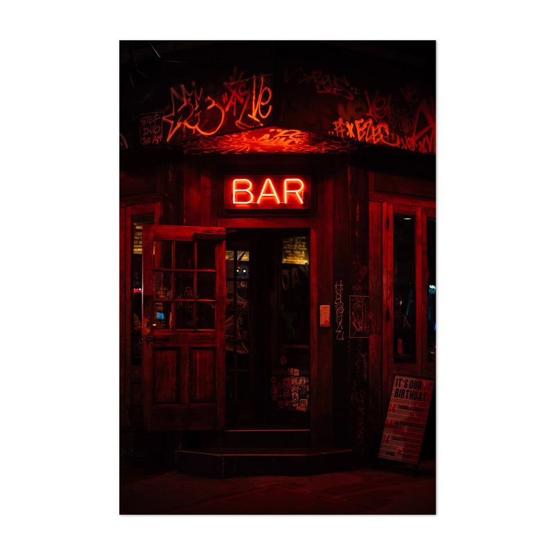 Bar Neon Sign New York City Art Print