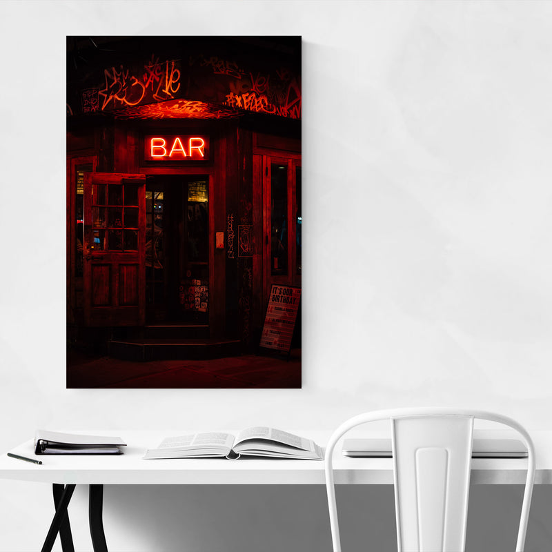 Bar Neon Sign New York City Metal Art Print