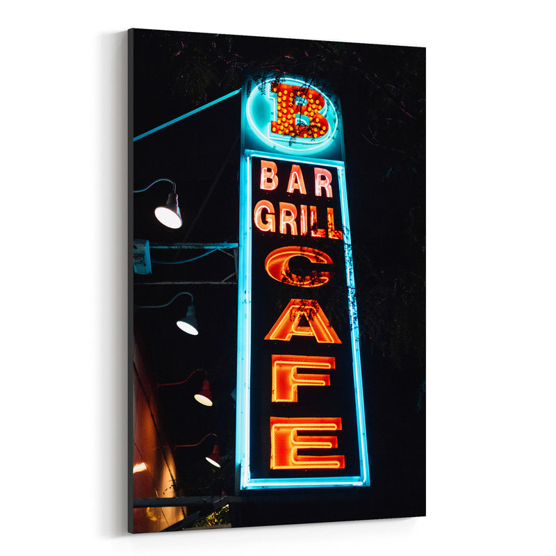 Bar Grill Cafe Sign New York Canvas Art Print