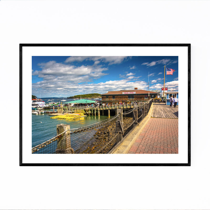 Bar Harbor Maine Boats Nautical Framed Art Print