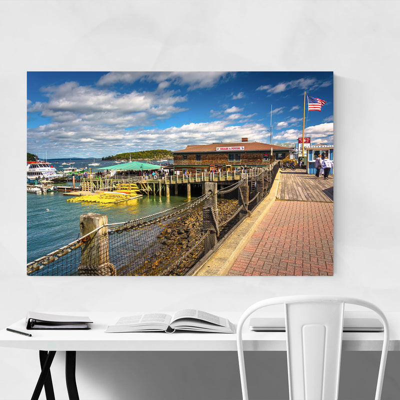 Bar Harbor Maine Boats Nautical Canvas Art Print