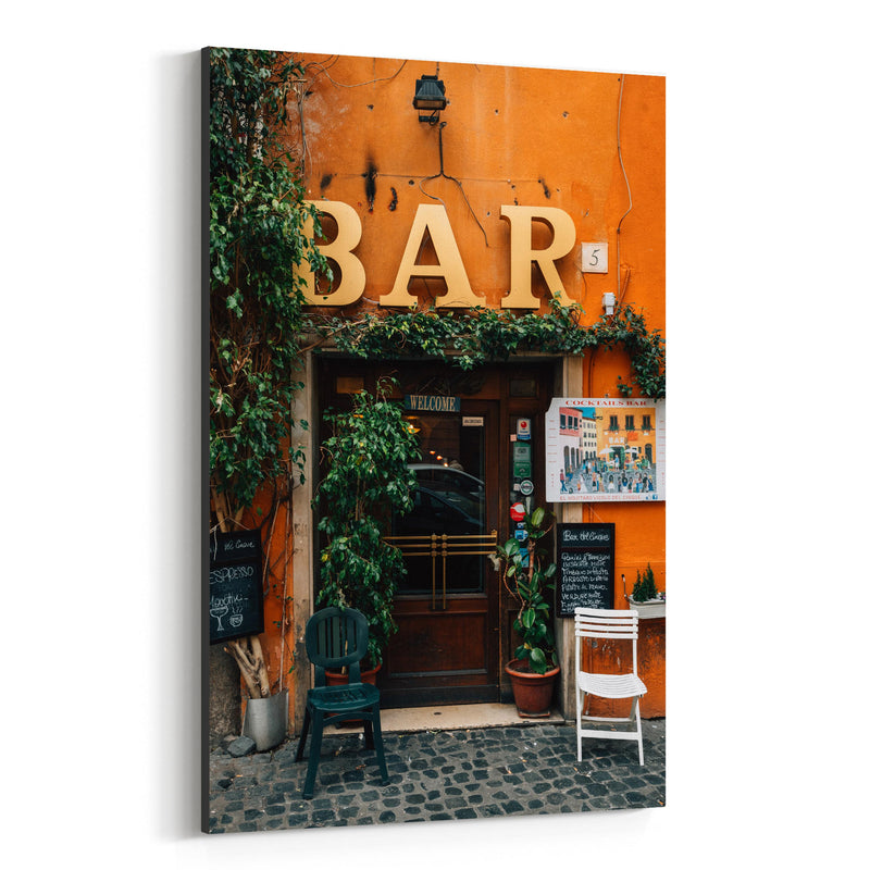 Rome Italy Trastevere Bar Photo Canvas Art Print