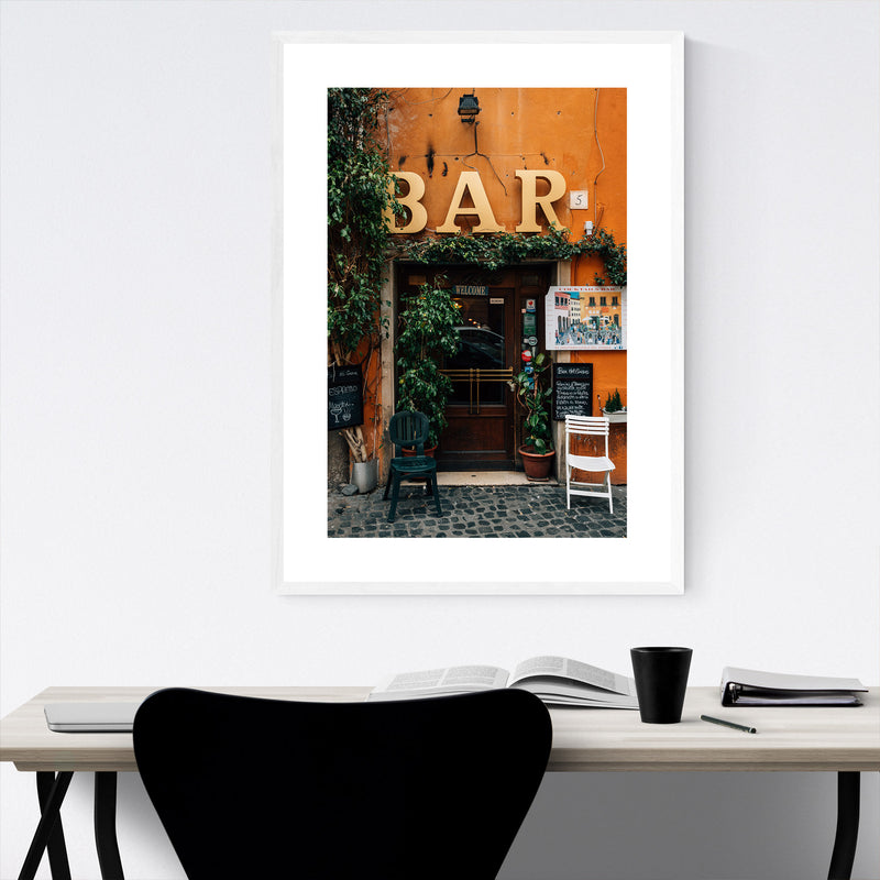 Rome Italy Trastevere Bar Photo Framed Art Print