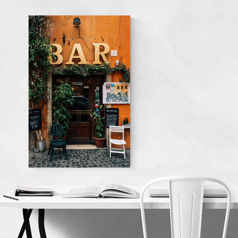 Rome Italy Trastevere Bar Photo Metal Art Print