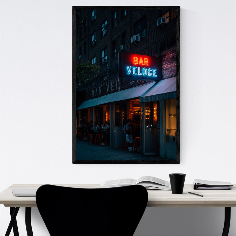 Bar Veloce Neon Sign New York Framed Art Print