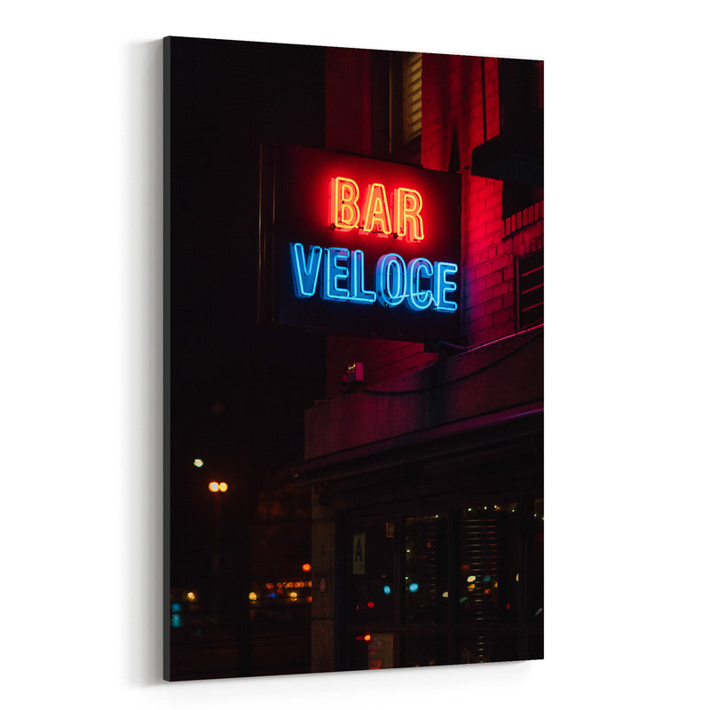 Bar Veloce Neon Sign New York Canvas Art Print