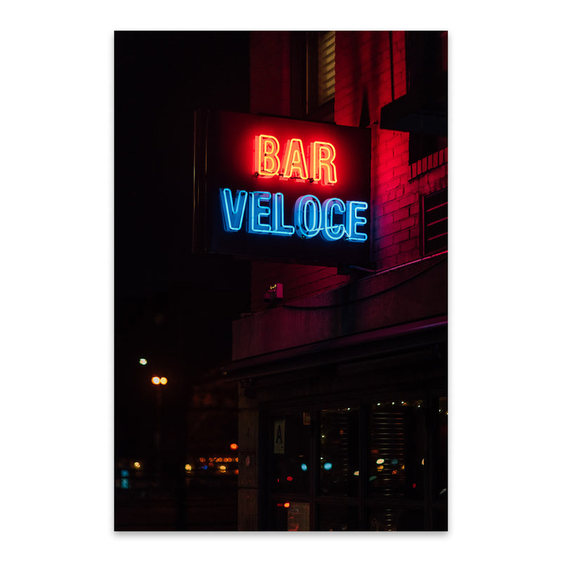 Bar Veloce Neon Sign New York Metal Art Print
