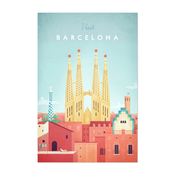 Minimal Travel Poster Barcelona Art Print