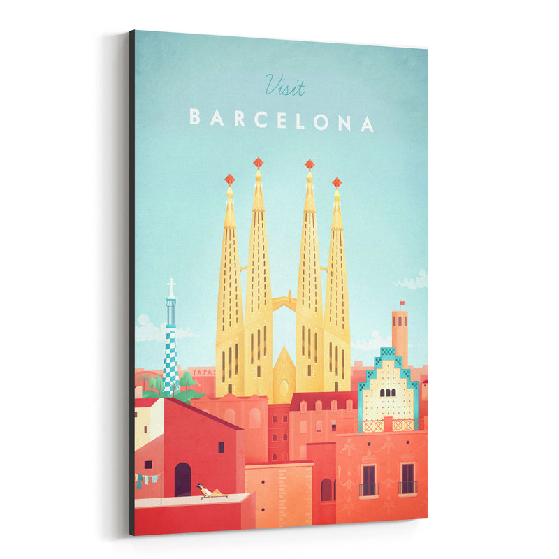 Minimal Travel Poster Barcelona Canvas Art Print