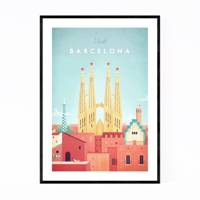 Minimal Travel Poster Barcelona Framed Art Print