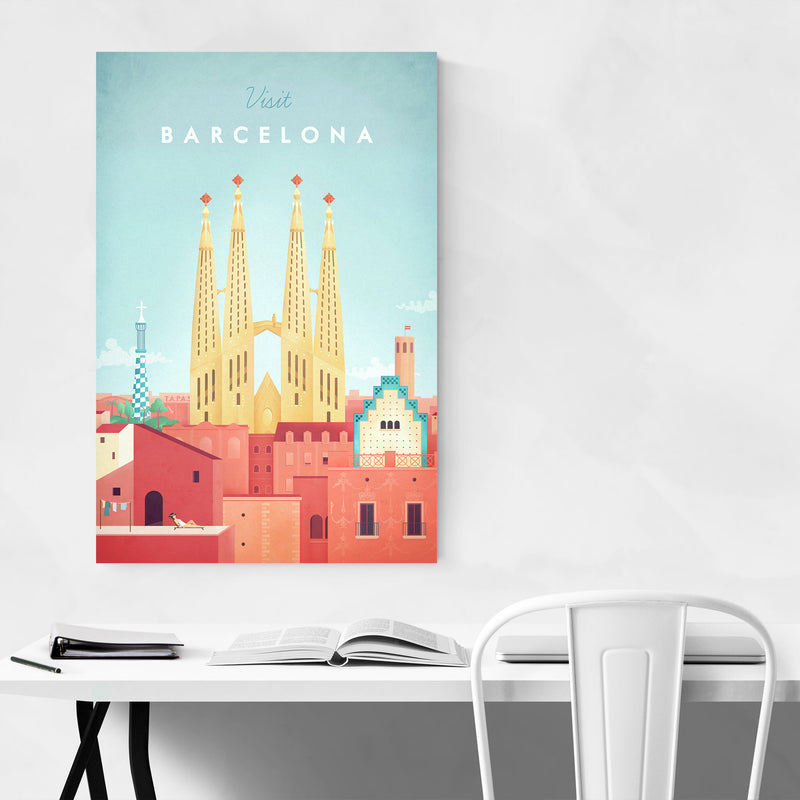 Minimal Travel Poster Barcelona Metal Art Print