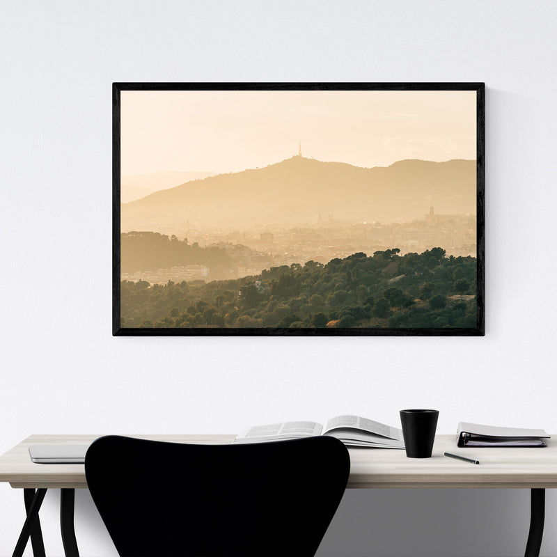Barcelona Spain Mountains Nature Framed Art Print