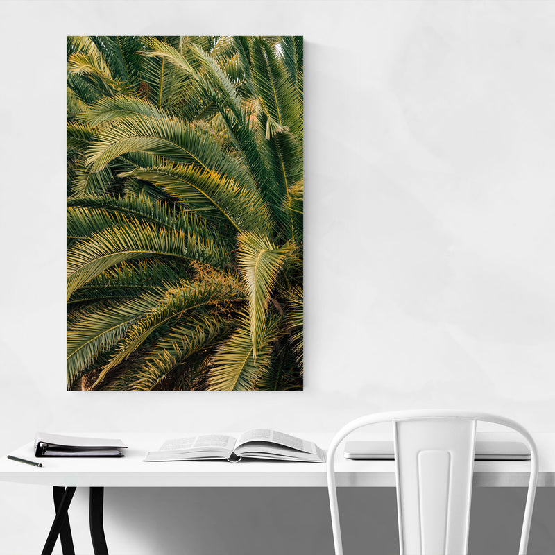 Beach Palm Trees Barcelona Spain Metal Art Print