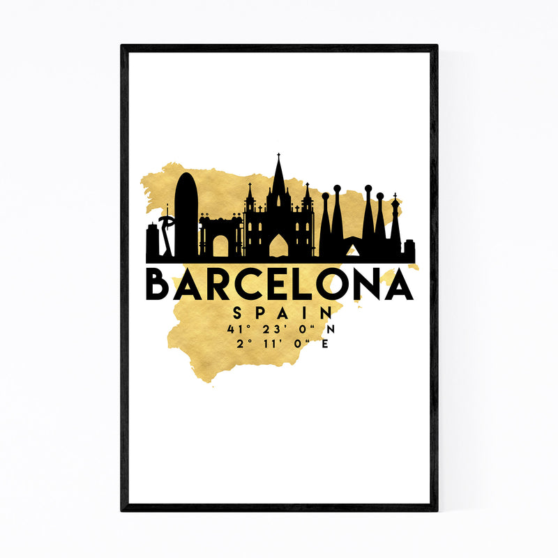 Minimal Barcelona Skyline Framed Art Print