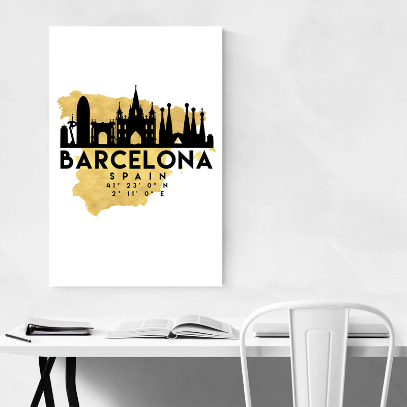 Minimal Barcelona Skyline Canvas Art Print