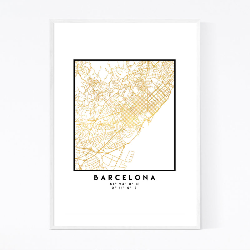 Minimal Barcelona City Map Framed Art Print