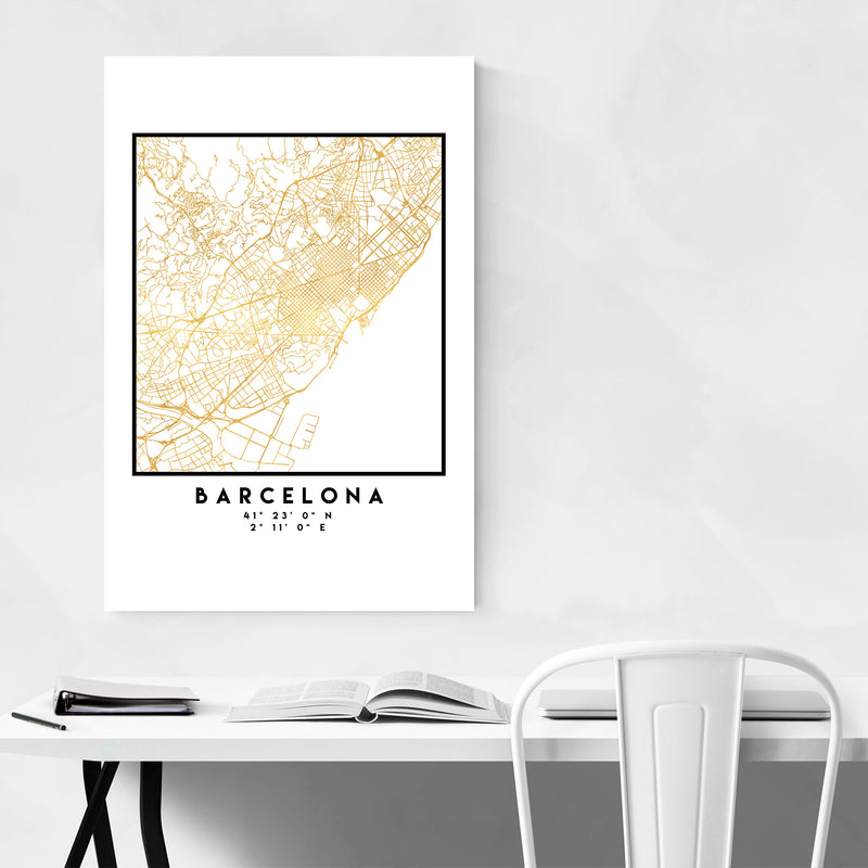 Minimal Barcelona City Map Metal Art Print