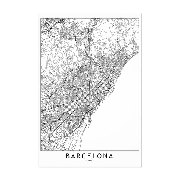 Barcelona Black & White City Map Art Print