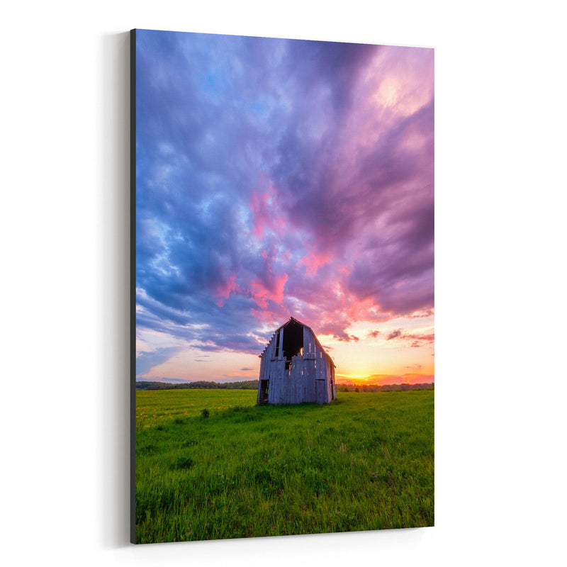 Rural Indiana Barn Sunset Farm Canvas Art Print