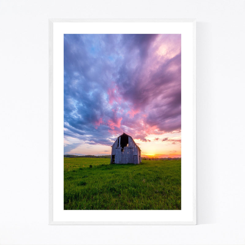 Rural Indiana Barn Sunset Farm Framed Art Print