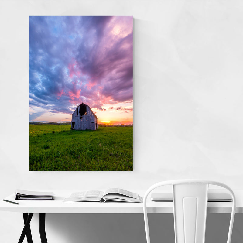 Rural Indiana Barn Sunset Farm Art Print