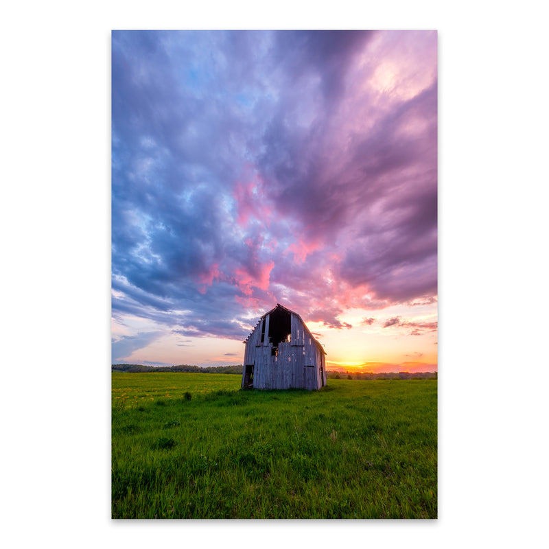 Rural Indiana Barn Sunset Farm Metal Art Print